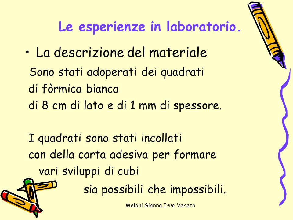 Meloni Gianna Irre Veneto Le esperienze in laboratorio. La descrizione del materiale Sono stati adoperati dei quadrati di fòrmica bianca di 8 cm di la