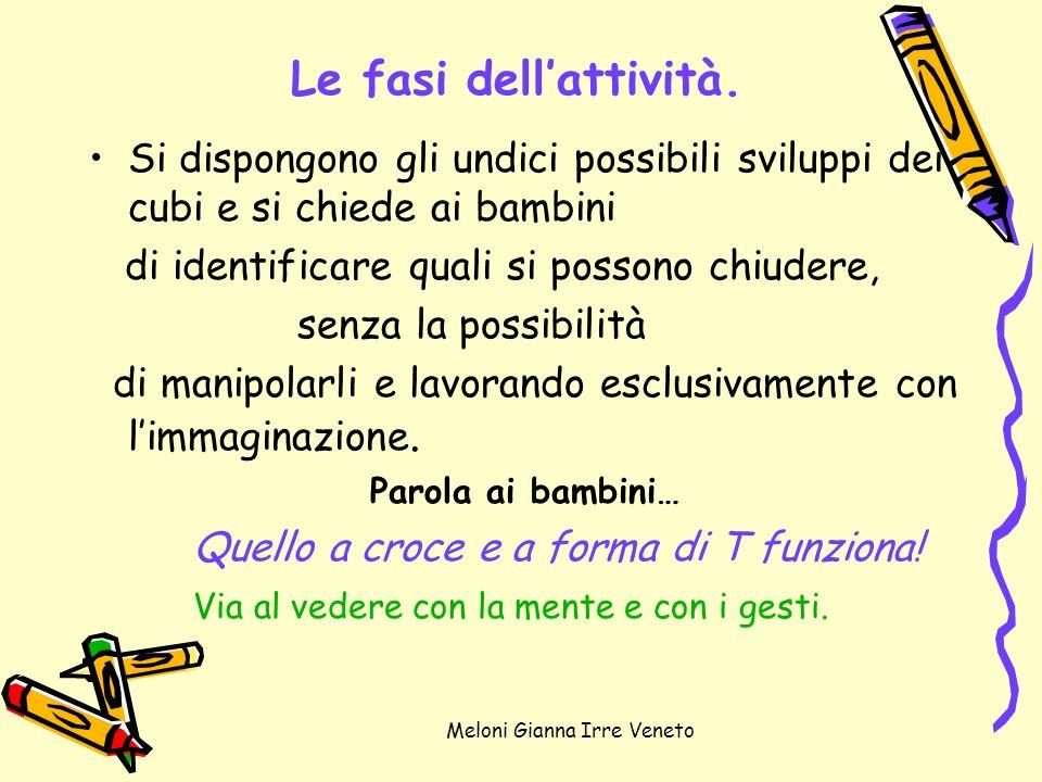 Meloni Gianna Irre Veneto Le fasi dellattività. Si dispongono gli undici possibili sviluppi dei cubi e si chiede ai bambini di identificare quali si p