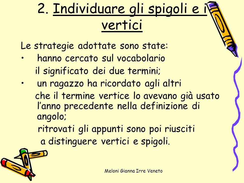 Meloni Gianna Irre Veneto 2. Individuare gli spigoli e i vertici Le strategie adottate sono state: hanno cercato sul vocabolario il significato dei du