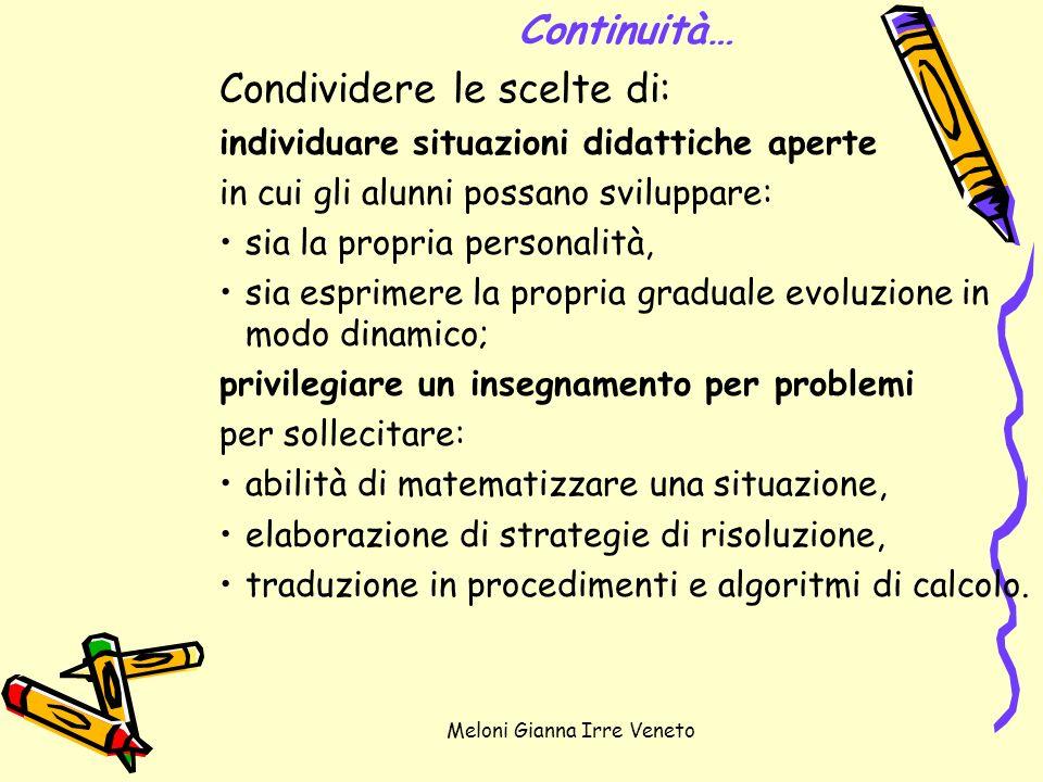 Meloni Gianna Irre Veneto Continuità… Condividere le scelte di: individuare situazioni didattiche aperte in cui gli alunni possano sviluppare: sia la