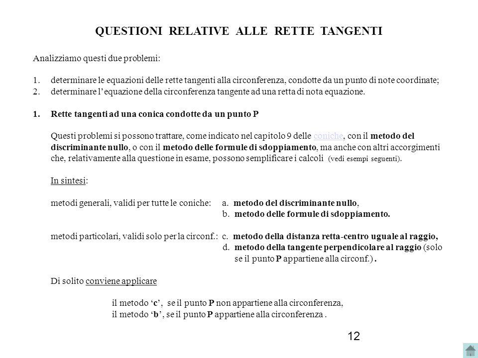12 QUESTIONI RELATIVE ALLE RETTE TANGENTI Analizziamo questi due problemi: 1.determinare le equazioni delle rette tangenti alla circonferenza, condott