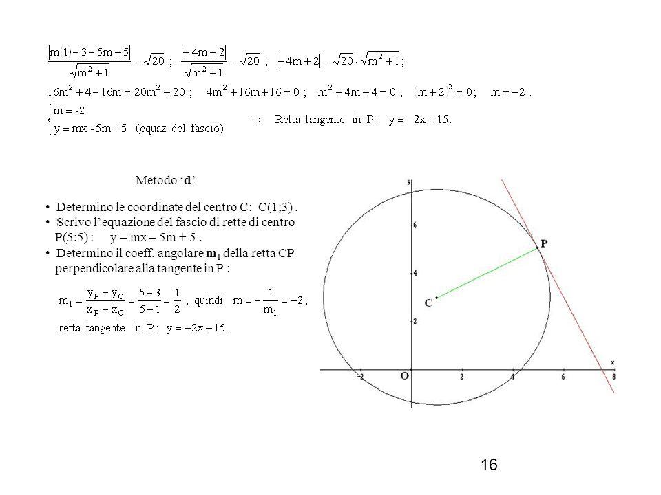 16 Metodo d Determino le coordinate del centro C: C(1;3). Scrivo lequazione del fascio di rette di centro P(5;5) : y = mx – 5m + 5. Determino il coeff