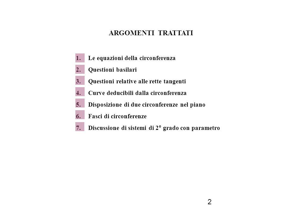 2 ARGOMENTI TRATTATI 1. Le equazioni della circonferenza 2. Questioni basilari 3. Questioni relative alle rette tangenti 4. Curve deducibili dalla cir