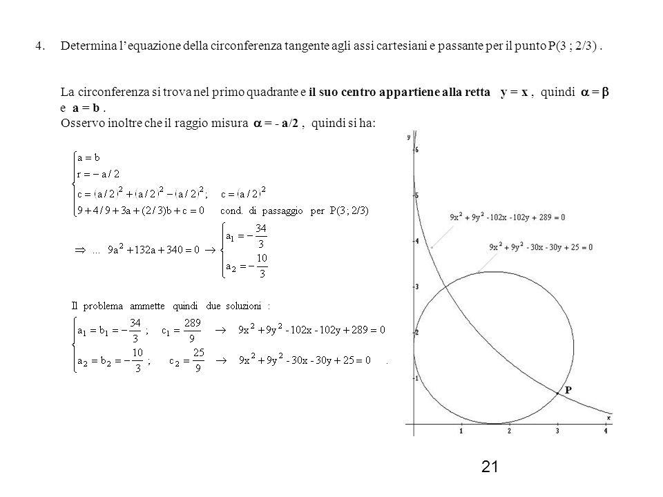 21 4. Determina lequazione della circonferenza tangente agli assi cartesiani e passante per il punto P(3 ; 2/3). La circonferenza si trova nel primo q