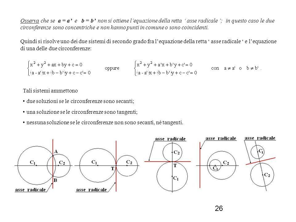26 Tali sistemi ammettono due soluzioni se le circonferenze sono secanti; una soluzione se le circonferenze sono tangenti; nessuna soluzione se le cir