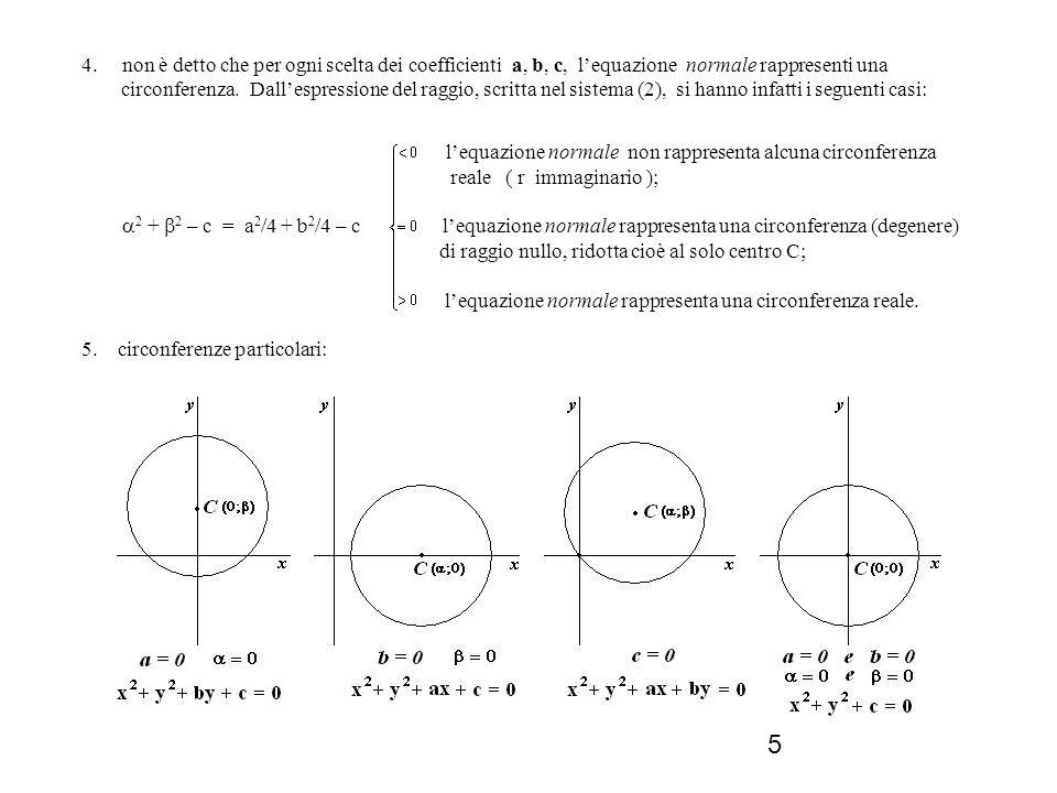 5 4. non è detto che per ogni scelta dei coefficienti a, b, c, lequazione normale rappresenti una circonferenza. Dallespressione del raggio, scritta n