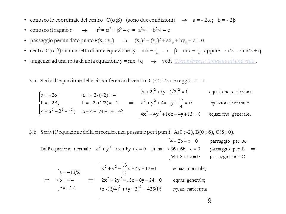 9 3.a Scrivi lequazione della circonferenza di centro C(-2; 1/2) e raggio r = 1. conosco le coordinate del centro C( ; ) (sono due condizioni) a = - 2