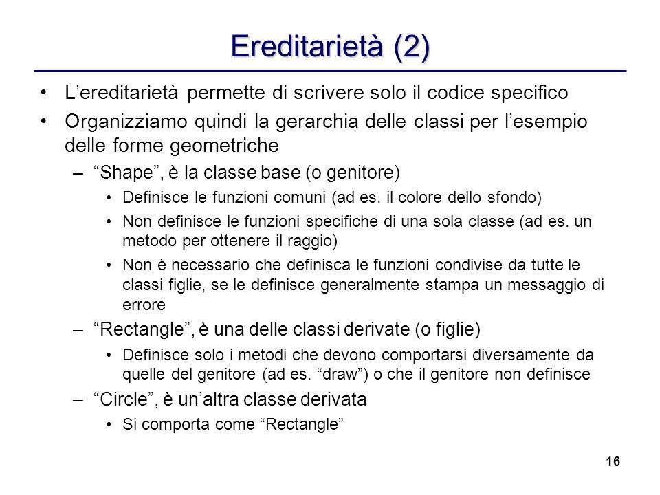 16 Ereditarietà (2) Lereditarietà permette di scrivere solo il codice specifico Organizziamo quindi la gerarchia delle classi per lesempio delle forme