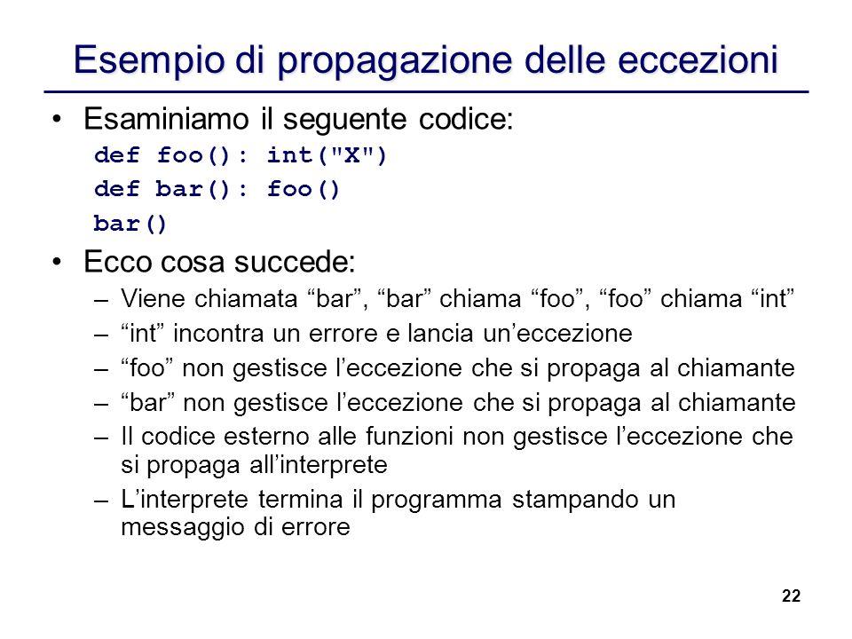 22 Esempio di propagazione delle eccezioni Esaminiamo il seguente codice: def foo(): int(