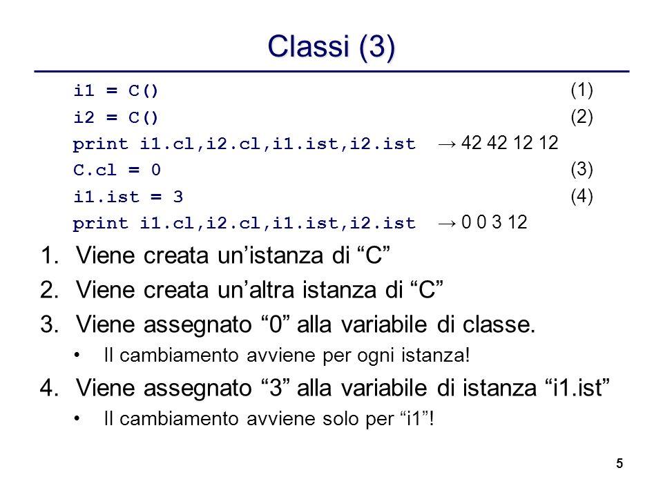 5 Classi (3) i1 = C() (1) i2 = C() (2) print i1.cl,i2.cl,i1.ist,i2.ist 42 42 12 12 C.cl = 0 (3) i1.ist = 3 (4) print i1.cl,i2.cl,i1.ist,i2.ist 0 0 3 1