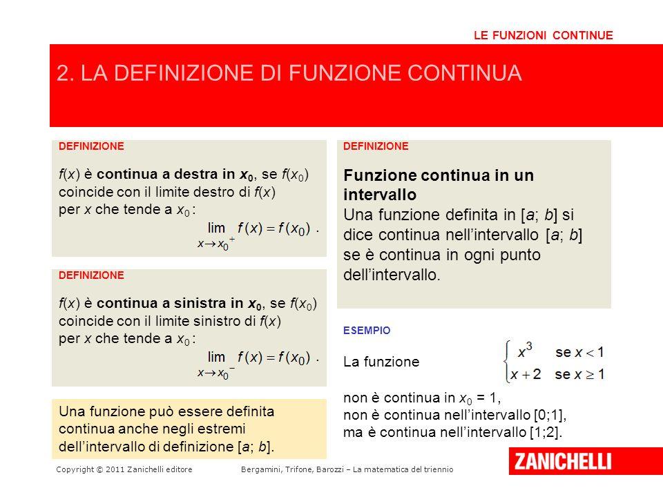 Copyright © 2011 Zanichelli editoreBergamini, Trifone, Barozzi – La matematica del triennio 2. LA DEFINIZIONE DI FUNZIONE CONTINUA LE FUNZIONI CONTINU