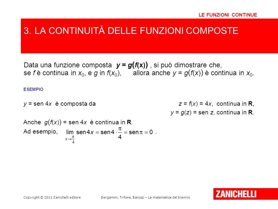 Copyright © 2011 Zanichelli editoreBergamini, Trifone, Barozzi – La matematica del triennio ESEMPIO y = sen 4x è composta da z = f(x) = 4x, continua i