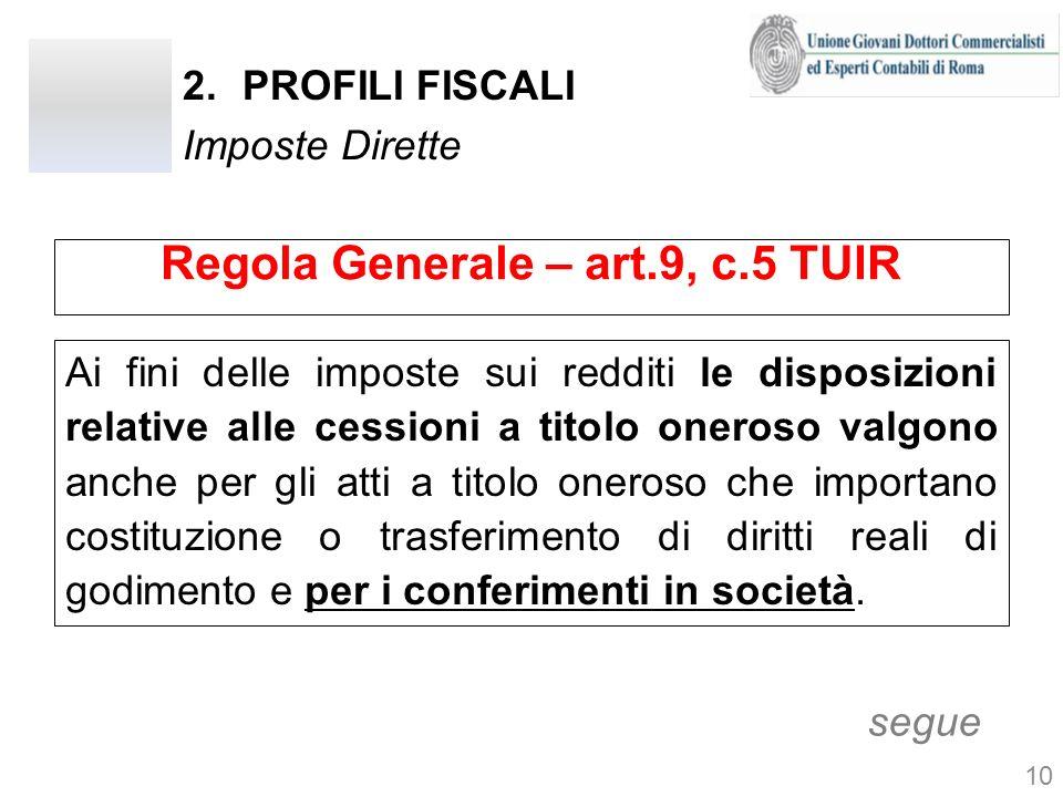 2.PROFILI FISCALI Imposte Dirette Regola Generale – art.9, c.5 TUIR Ai fini delle imposte sui redditi le disposizioni relative alle cessioni a titolo