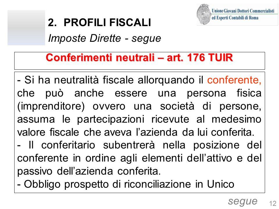 2.PROFILI FISCALI Imposte Dirette - segue - Si ha neutralità fiscale allorquando il conferente, che può anche essere una persona fisica (imprenditore)