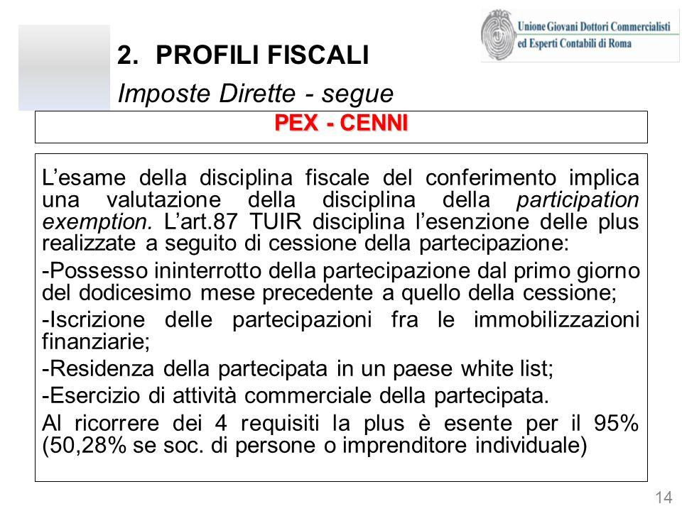 2.PROFILI FISCALI Imposte Dirette - segue PEX - CENNI Lesame della disciplina fiscale del conferimento implica una valutazione della disciplina della