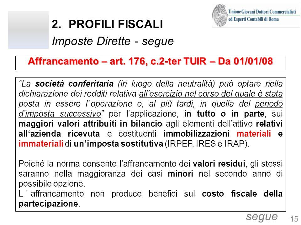 2.PROFILI FISCALI Imposte Dirette - segue La società conferitaria (in luogo della neutralità) può optare nella dichiarazione dei redditi relativa alle