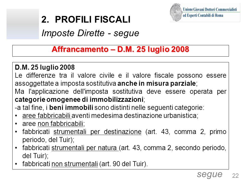 2.PROFILI FISCALI Imposte Dirette - segue D.M. 25 luglio 2008 Le differenze tra il valore civile e il valore fiscale possono essere assoggettate a imp