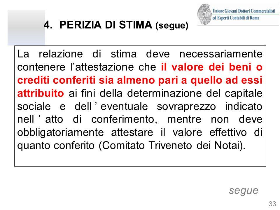4.PERIZIA DI STIMA (segue) La relazione di stima deve necessariamente contenere lattestazione che il valore dei beni o crediti conferiti sia almeno pa
