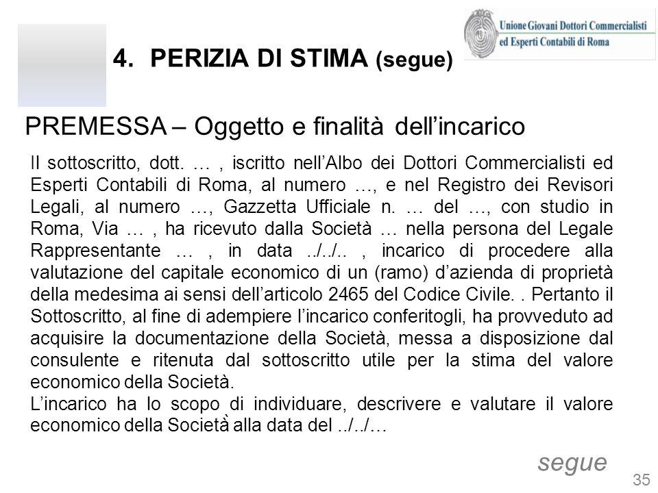 4.PERIZIA DI STIMA (segue) PREMESSA – Oggetto e finalità dellincarico segue Il sottoscritto, dott. …, iscritto nellAlbo dei Dottori Commercialisti ed