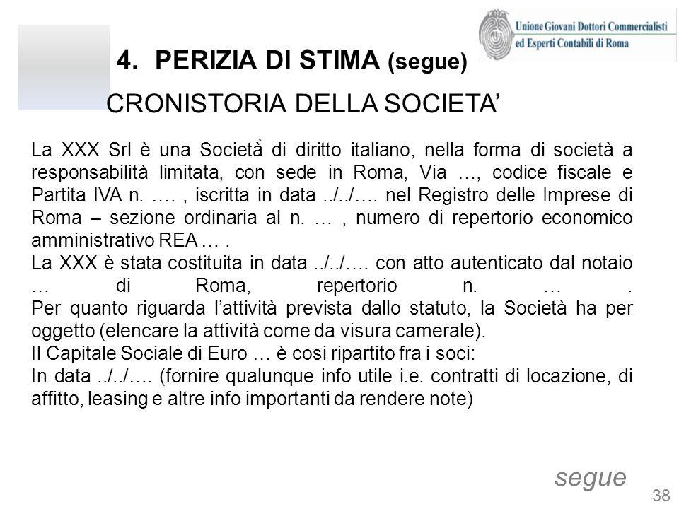 4.PERIZIA DI STIMA (segue) CRONISTORIA DELLA SOCIETA segue La XXX Srl è una Società̀ di diritto italiano, nella forma di società a responsabilità limitata, con sede in Roma, Via …, codice fiscale e Partita IVA n.