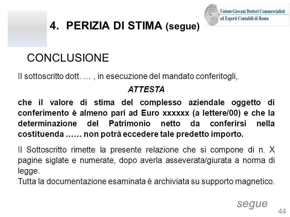 4.PERIZIA DI STIMA (segue) CONCLUSIONE segue Il sottoscritto dott. …, in esecuzione del mandato conferitogli, ATTESTA che il valore di stima del compl