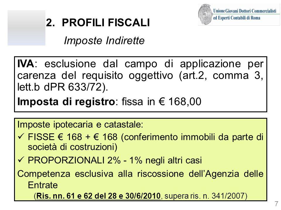 2.PROFILI FISCALI Imposte Indirette IVA: esclusione dal campo di applicazione per carenza del requisito oggettivo (art.2, comma 3, lett.b dPR 633/72).