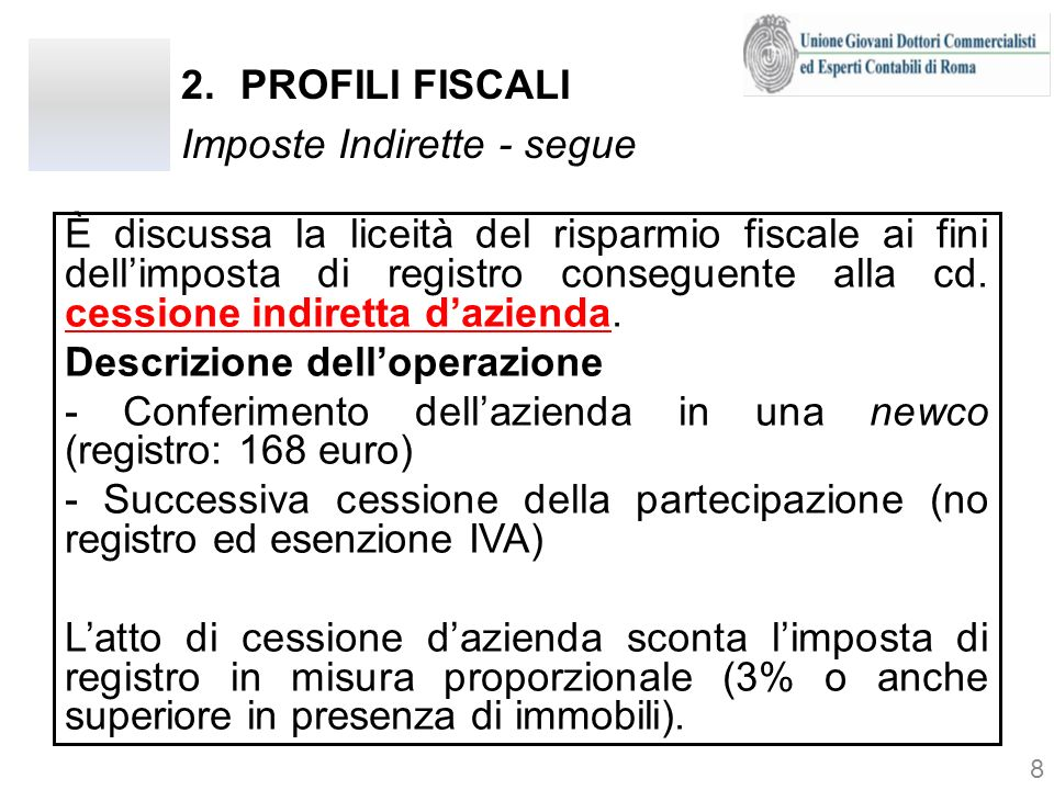 2.PROFILI FISCALI Imposte Indirette - segue È discussa la liceità del risparmio fiscale ai fini dellimposta di registro conseguente alla cd. cessione