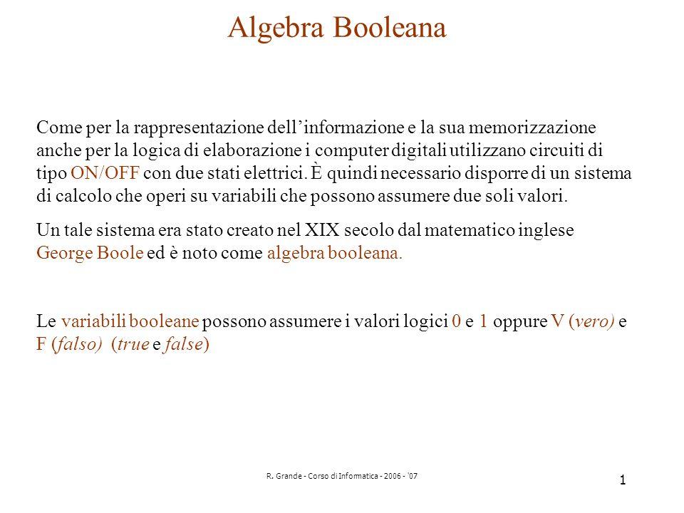 R. Grande - Corso di Informatica - 2006 - '07 1 Algebra Booleana Come per la rappresentazione dellinformazione e la sua memorizzazione anche per la lo