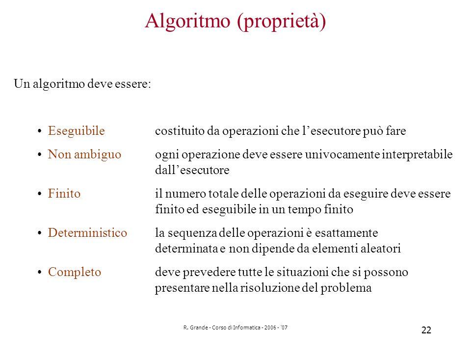 R. Grande - Corso di Informatica - 2006 - '07 22 Algoritmo (proprietà) Un algoritmo deve essere: Eseguibilecostituito da operazioni che lesecutore può