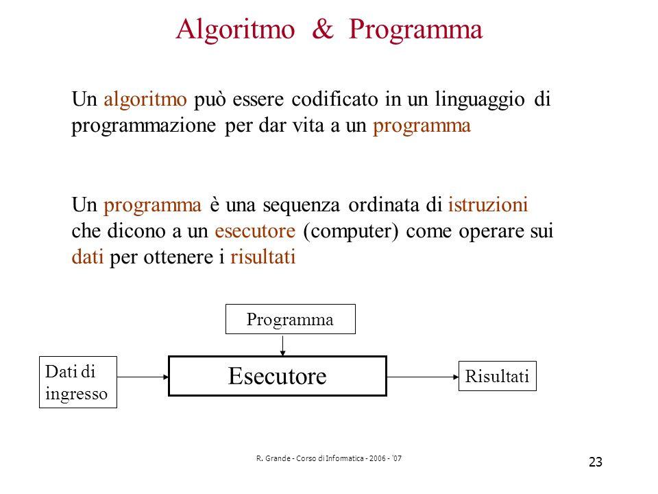 R. Grande - Corso di Informatica - 2006 - '07 23 Algoritmo & Programma Un algoritmo può essere codificato in un linguaggio di programmazione per dar v