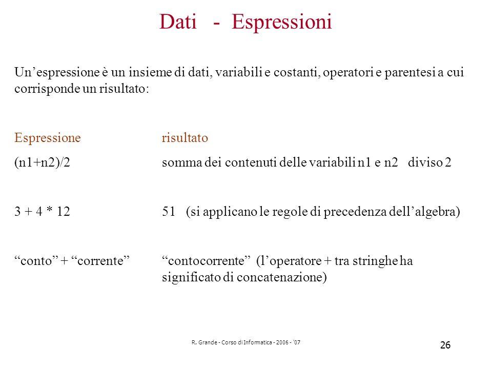 R. Grande - Corso di Informatica - 2006 - '07 26 Dati - Espressioni Unespressione è un insieme di dati, variabili e costanti, operatori e parentesi a