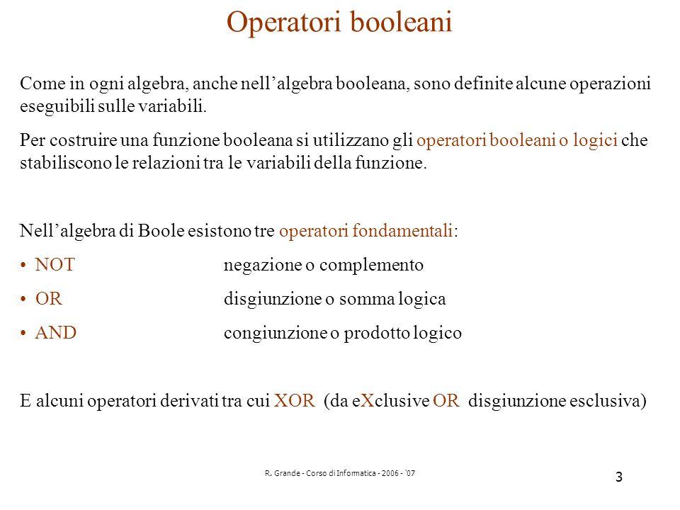 R. Grande - Corso di Informatica - 2006 - '07 3 Operatori booleani Come in ogni algebra, anche nellalgebra booleana, sono definite alcune operazioni e