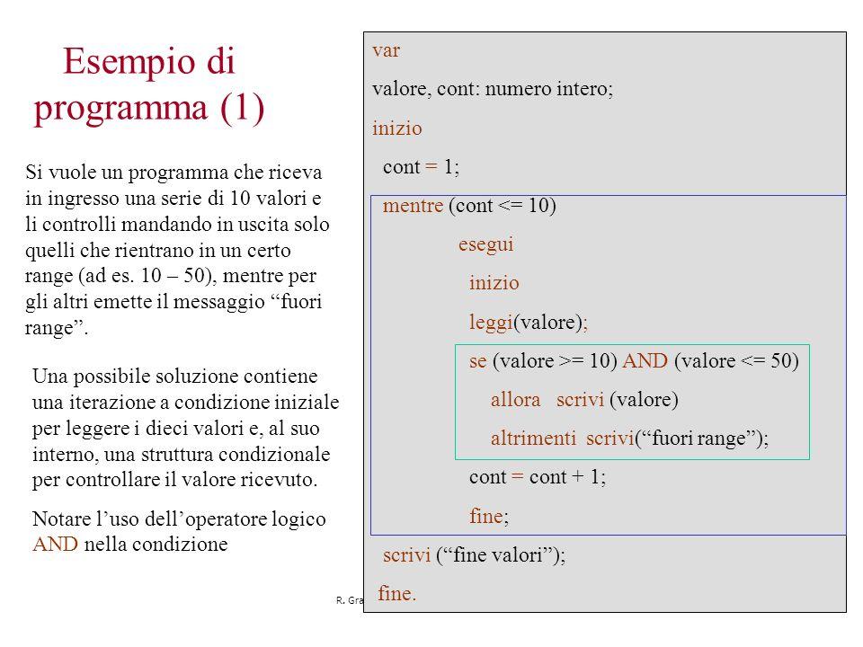 R. Grande - Corso di Informatica - 2006 - '07 39 Esempio di programma (1) Si vuole un programma che riceva in ingresso una serie di 10 valori e li con