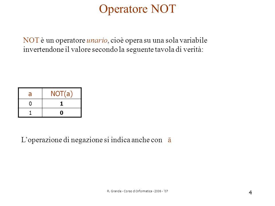 R. Grande - Corso di Informatica - 2006 - '07 4 Operatore NOT NOT è un operatore unario, cioè opera su una sola variabile invertendone il valore secon