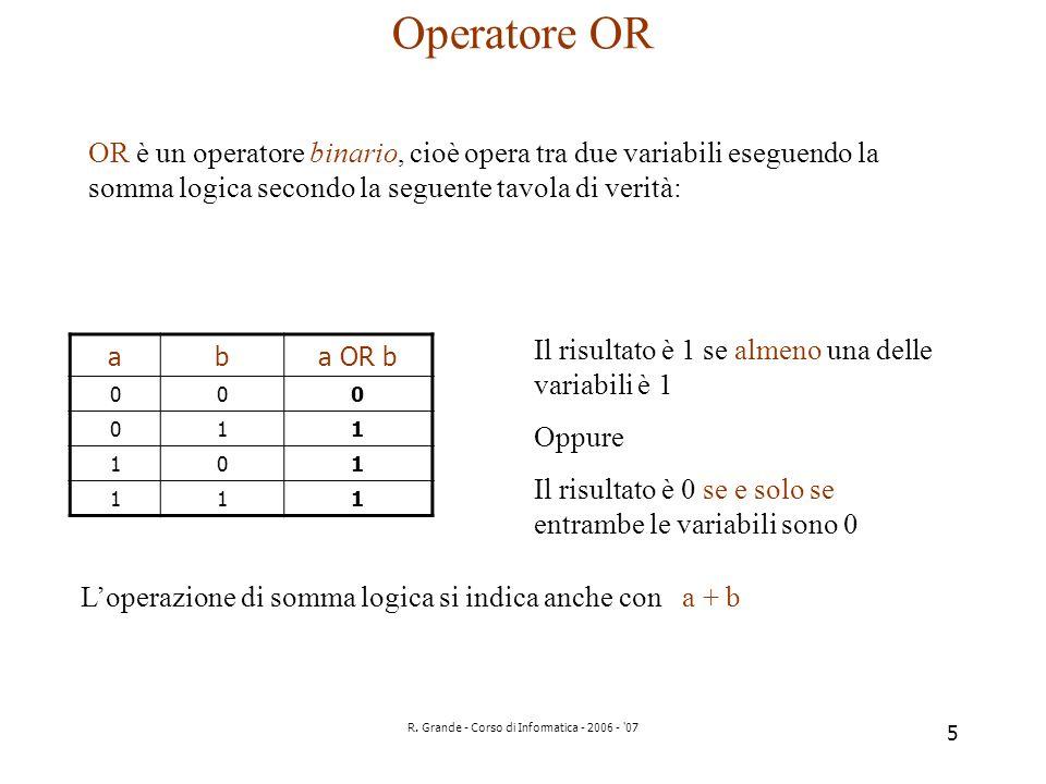 R. Grande - Corso di Informatica - 2006 - '07 5 Operatore OR OR è un operatore binario, cioè opera tra due variabili eseguendo la somma logica secondo
