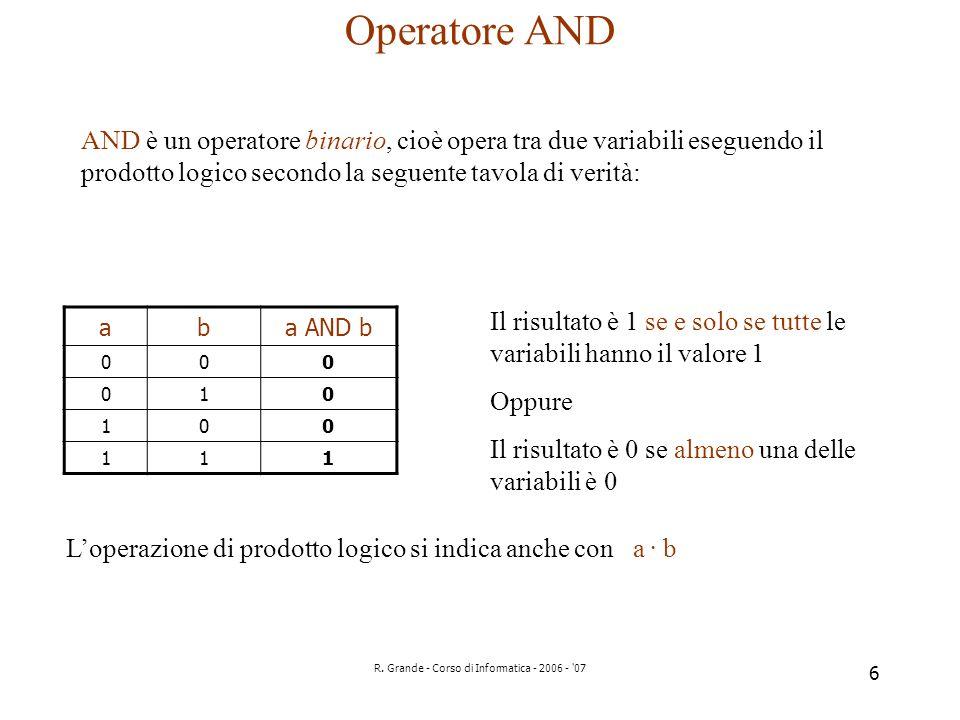 R. Grande - Corso di Informatica - 2006 - '07 6 Operatore AND AND è un operatore binario, cioè opera tra due variabili eseguendo il prodotto logico se