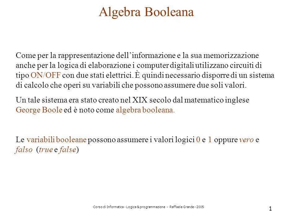Corso di Informatica - Logica & programmazione - Raffaele Grande - 2005 1 Algebra Booleana Come per la rappresentazione dellinformazione e la sua memorizzazione anche per la logica di elaborazione i computer digitali utilizzano circuiti di tipo ON/OFF con due stati elettrici.