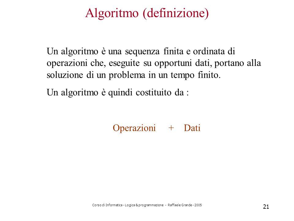Corso di Informatica - Logica & programmazione - Raffaele Grande - 2005 21 Algoritmo (definizione) Un algoritmo è una sequenza finita e ordinata di operazioni che, eseguite su opportuni dati, portano alla soluzione di un problema in un tempo finito.