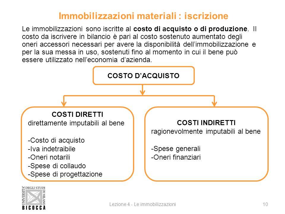 Immobilizzazioni materiali : iscrizione Le immobilizzazioni sono iscritte al costo di acquisto o di produzione. Il costo da iscrivere in bilancio è pa