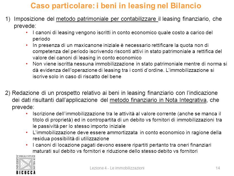 Caso particolare: i beni in leasing nel Bilancio 1)Imposizione del metodo patrimoniale per contabilizzare il leasing finanziario, che prevede: I canon