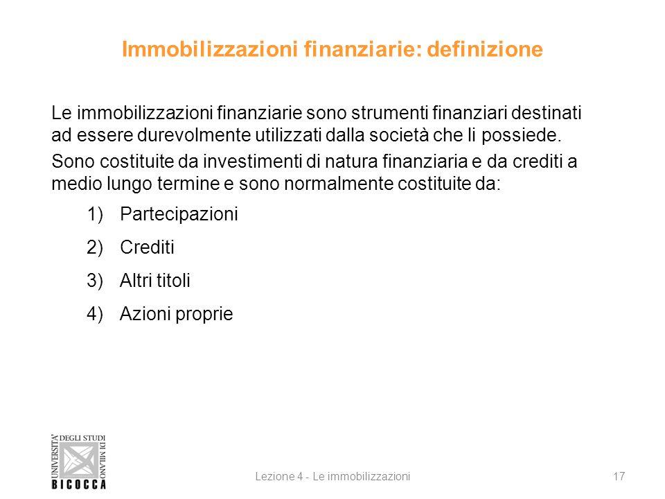 Immobilizzazioni finanziarie: definizione Le immobilizzazioni finanziarie sono strumenti finanziari destinati ad essere durevolmente utilizzati dalla