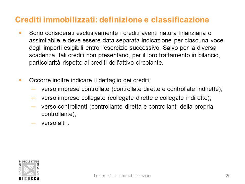 Lezione 4 - Le immobilizzazioni20 Crediti immobilizzati: definizione e classificazione Sono considerati esclusivamente i crediti aventi natura finanzi