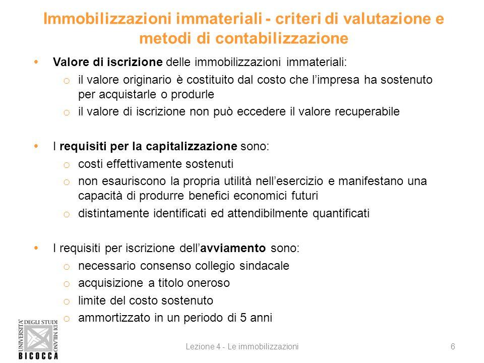 Immobilizzazioni immateriali - criteri di valutazione e metodi di contabilizzazione Valore di iscrizione delle immobilizzazioni immateriali: o il valo