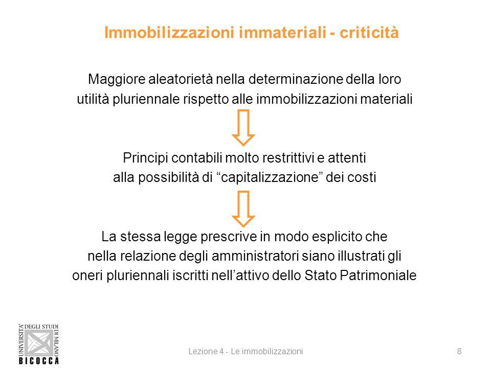 Immobilizzazioni immateriali - criticità Maggiore aleatorietà nella determinazione della loro utilità pluriennale rispetto alle immobilizzazioni mater