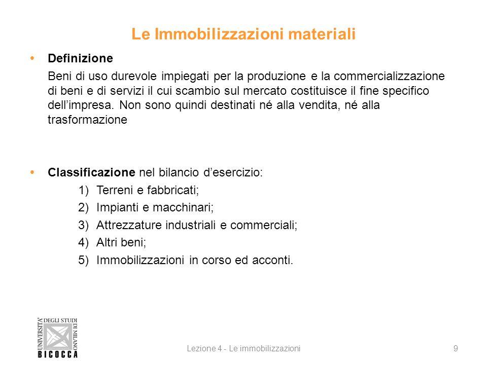 Le Immobilizzazioni materiali Definizione Beni di uso durevole impiegati per la produzione e la commercializzazione di beni e di servizi il cui scambi