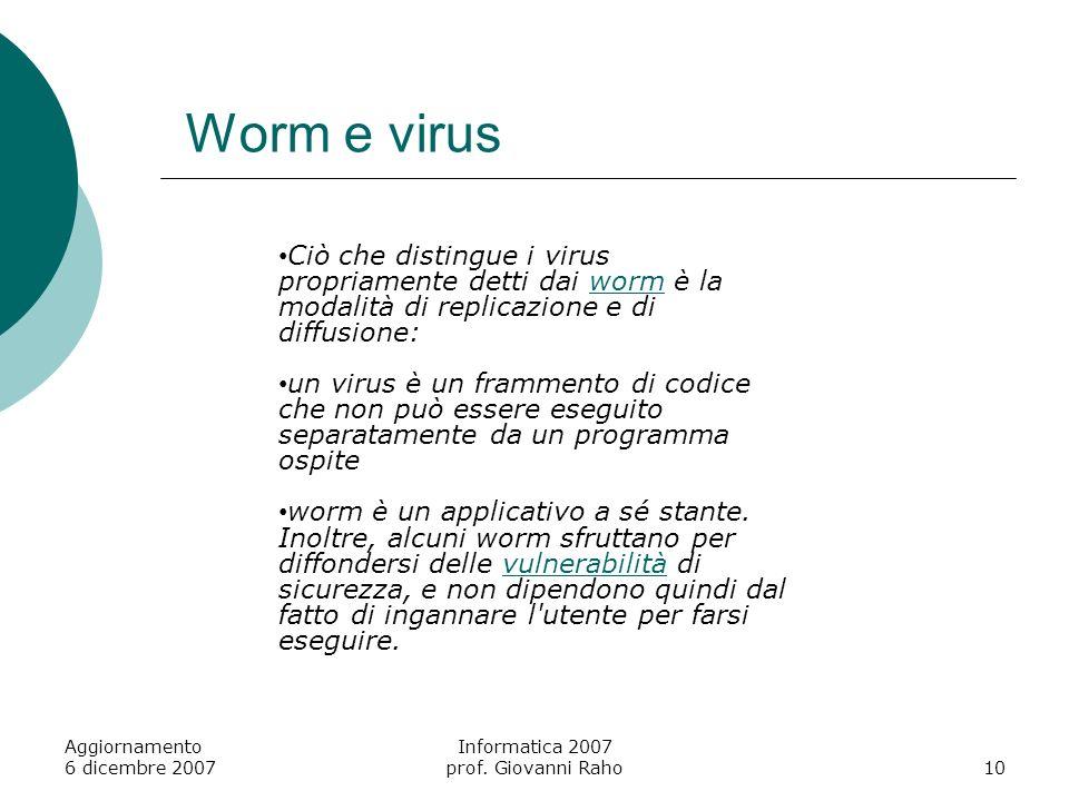 Worm e virus Aggiornamento 6 dicembre 2007 Informatica 2007 prof.