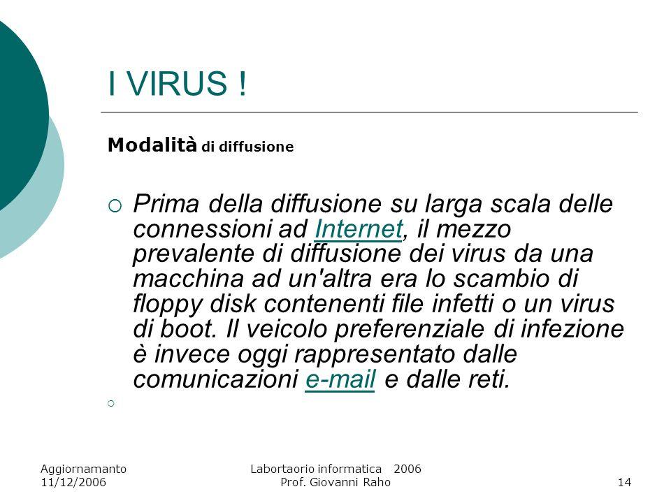 Aggiornamanto 11/12/2006 Labortaorio informatica 2006 Prof. Giovanni Raho14 I VIRUS ! Modalità di diffusione Prima della diffusione su larga scala del