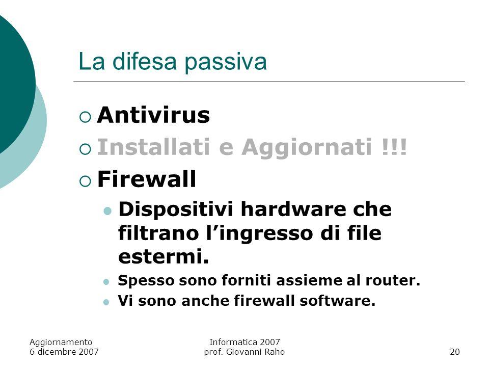 Aggiornamento 6 dicembre 2007 Informatica 2007 prof. Giovanni Raho20 La difesa passiva Antivirus Installati e Aggiornati !!! Firewall Dispositivi hard