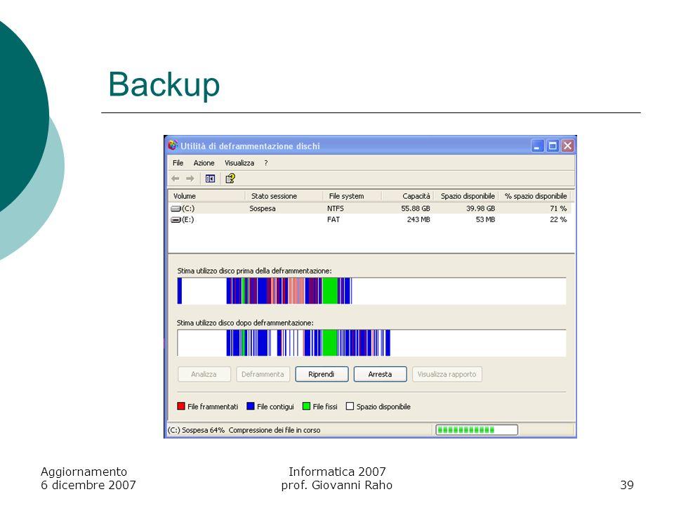 Backup Aggiornamento 6 dicembre 2007 Informatica 2007 prof. Giovanni Raho39