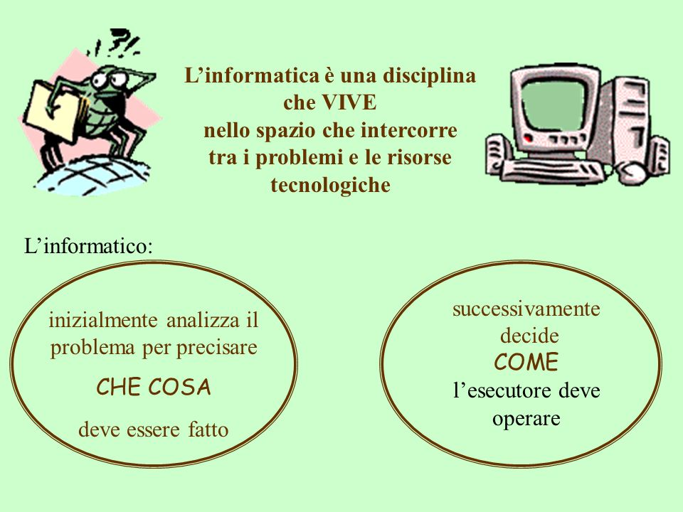 Linformatica è una disciplina che VIVE nello spazio che intercorre tra i problemi e le risorse tecnologiche successivamente decide COME lesecutore dev